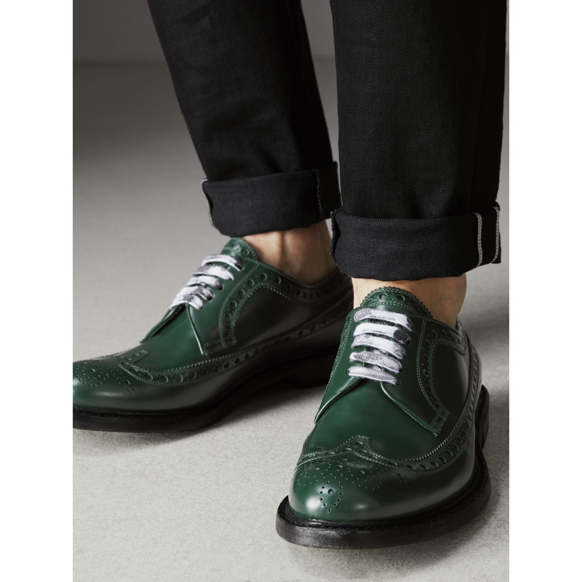 Leather Brogues with Painted Laces in Bottle Green - Men | Burberry - gallery image 2