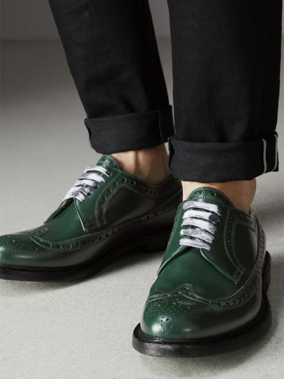 Leather Brogues with Painted Laces in Bottle Green - Men | Burberry - cell image 2