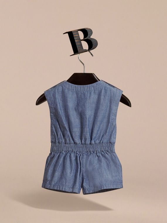Sleeveless Cotton Chambray Playsuit - cell image 3