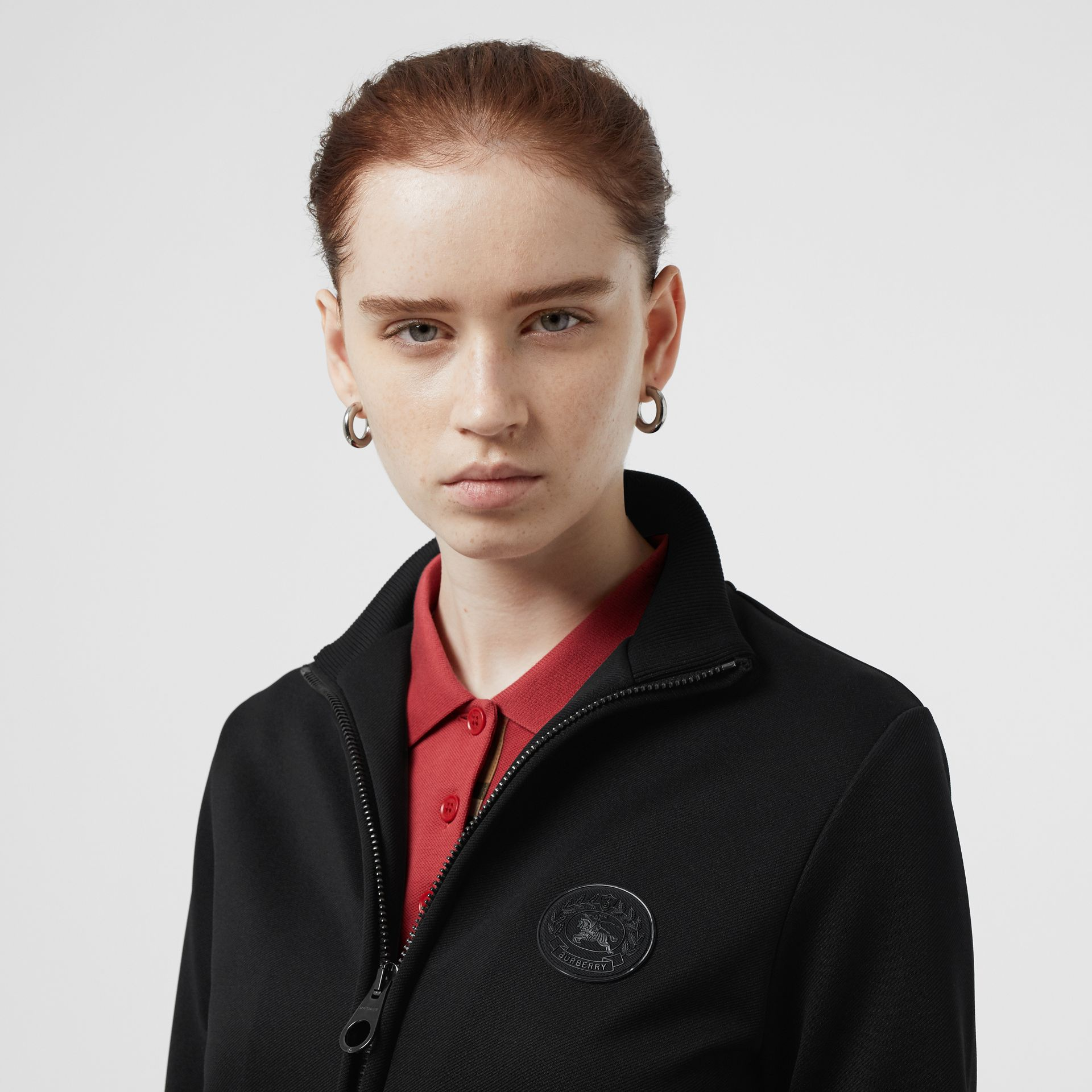 Crest Detail Funnel-neck Track Top in Black - Women | Burberry Australia - gallery image 1
