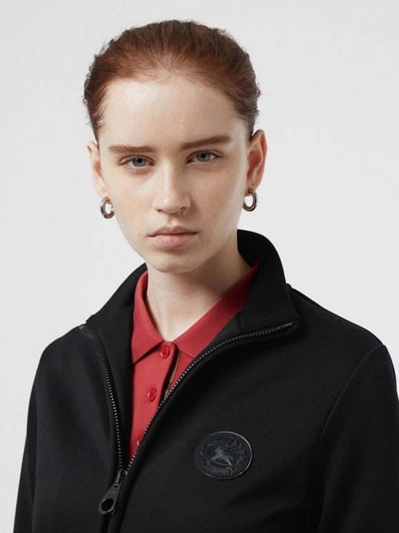 Crest Detail Funnel-neck Track Top in Black - Women | Burberry Australia - cell image 1