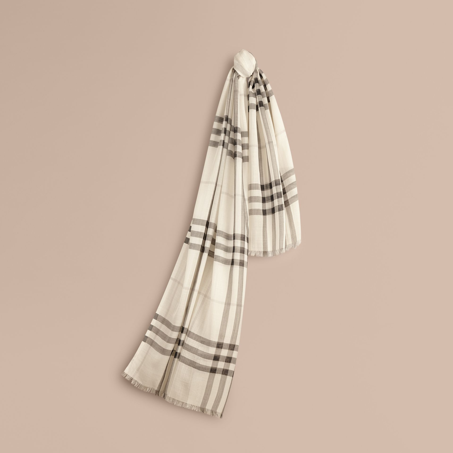 Natural white Lightweight Check Wool and Silk Scarf Natural White - gallery image 1