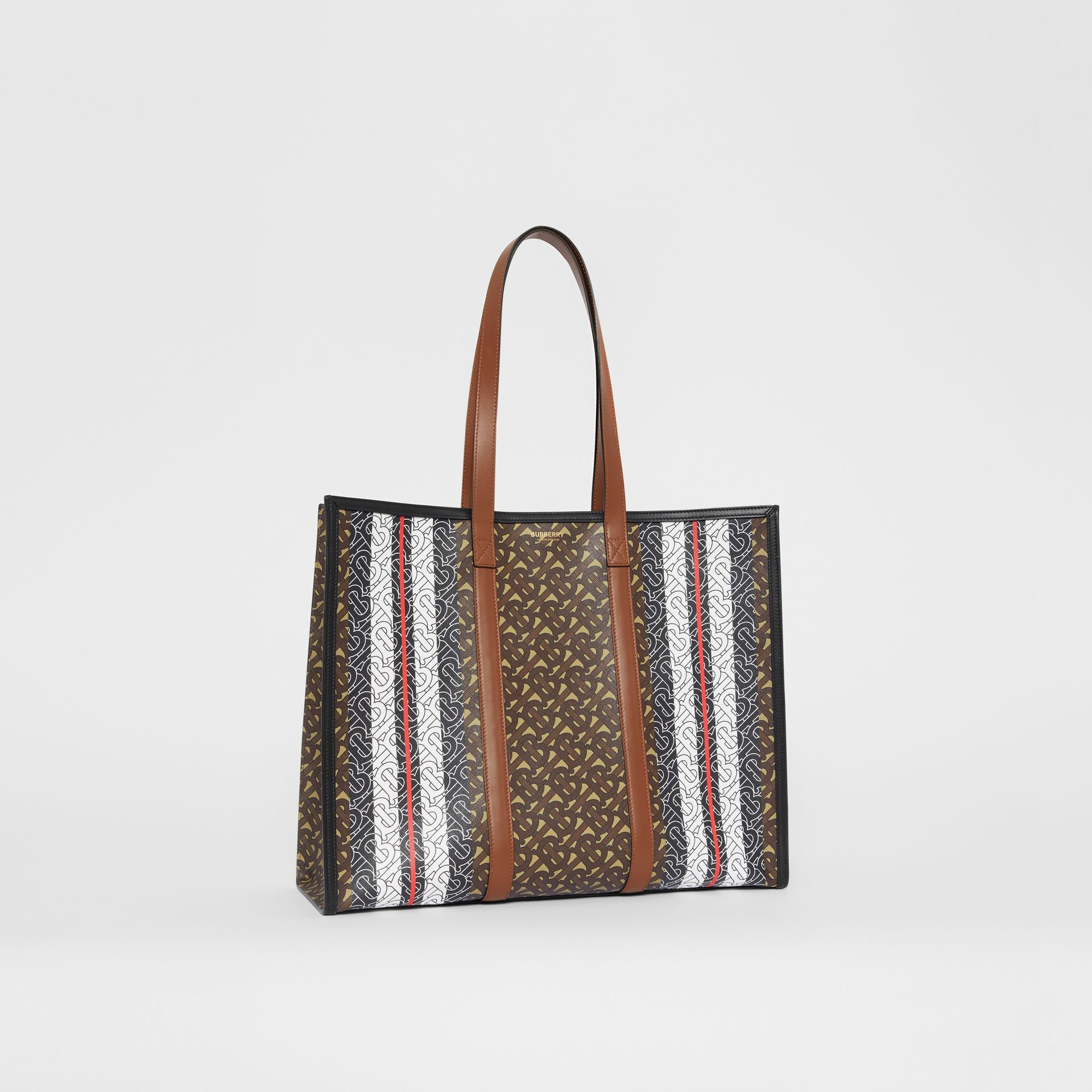 Monogram Stripe E-canvas Tote Bag in Bridle Brown - Women | Burberry - gallery image 8