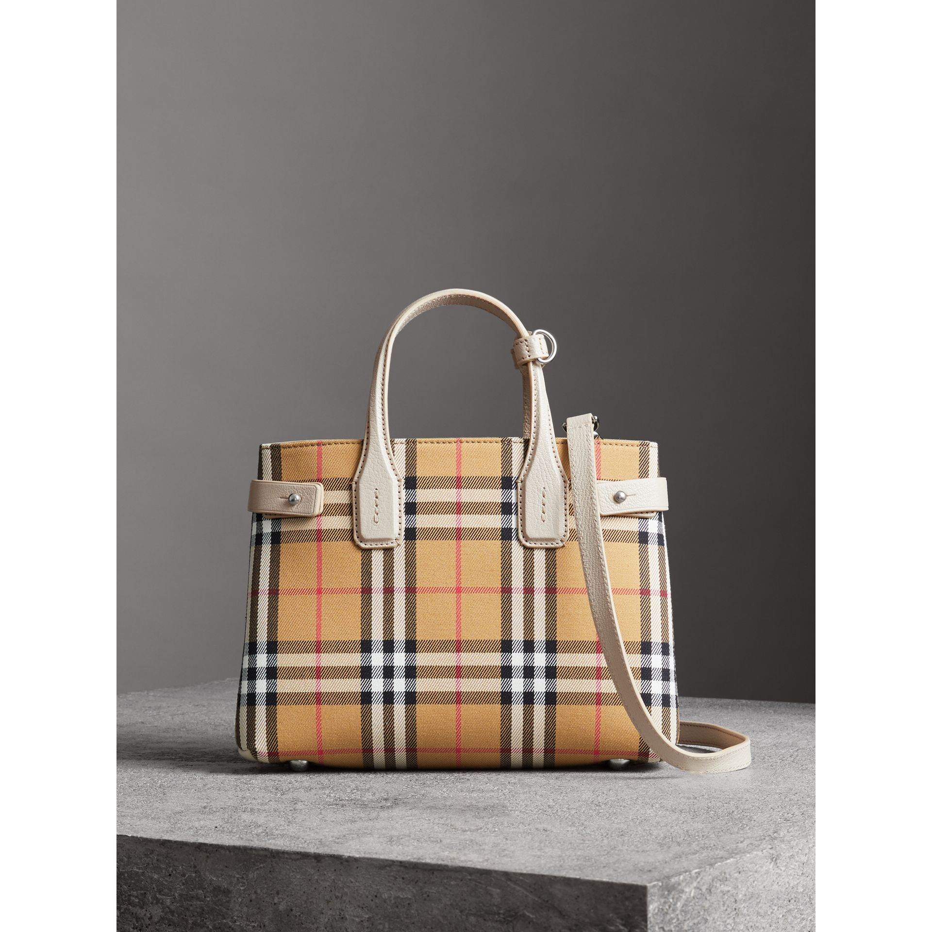 The Small Banner in Vintage Check and Leather in Limestone - Women | Burberry Australia - gallery image 6
