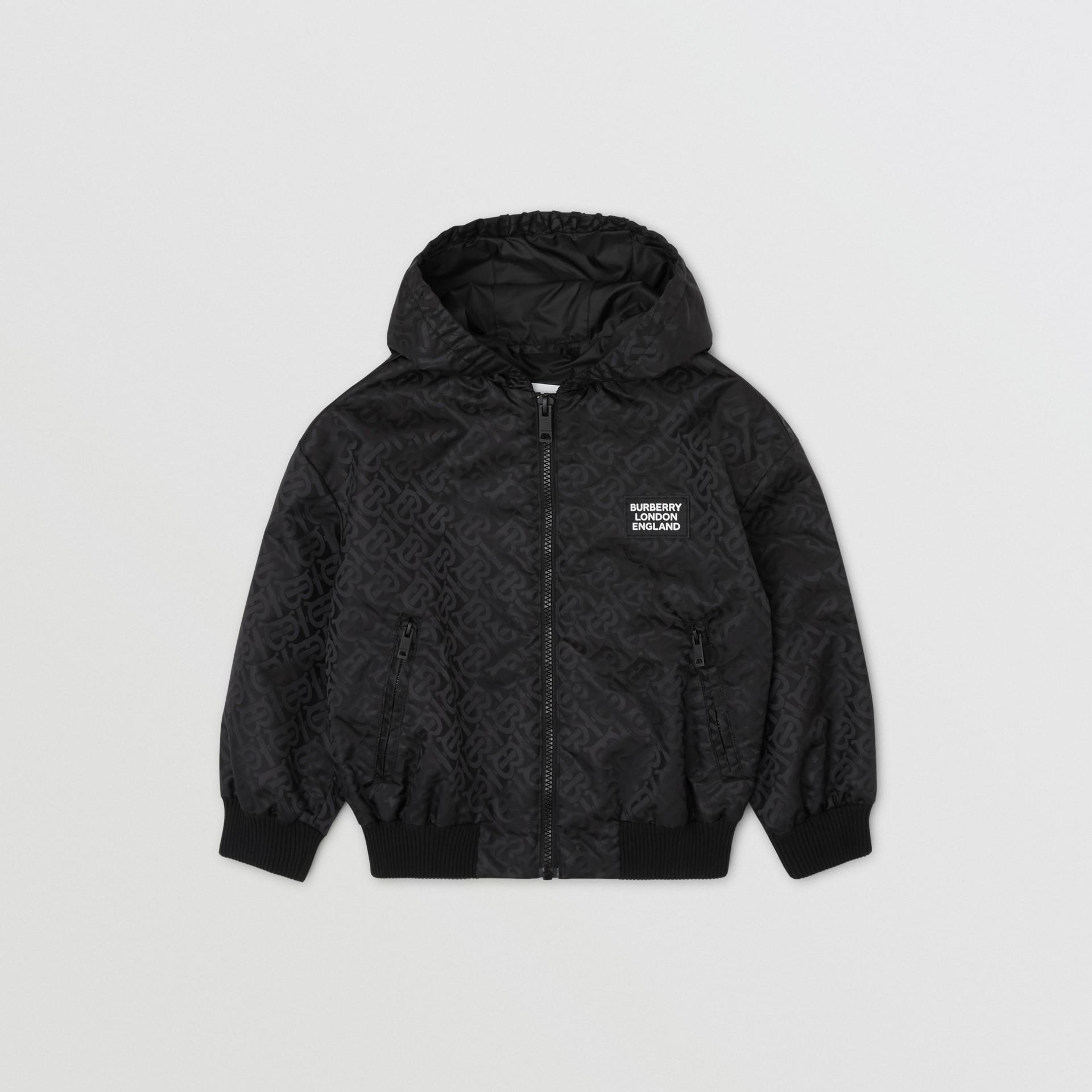 Monogram ECONYL® Hooded Jacket in Black | Burberry United Kingdom - gallery image 0