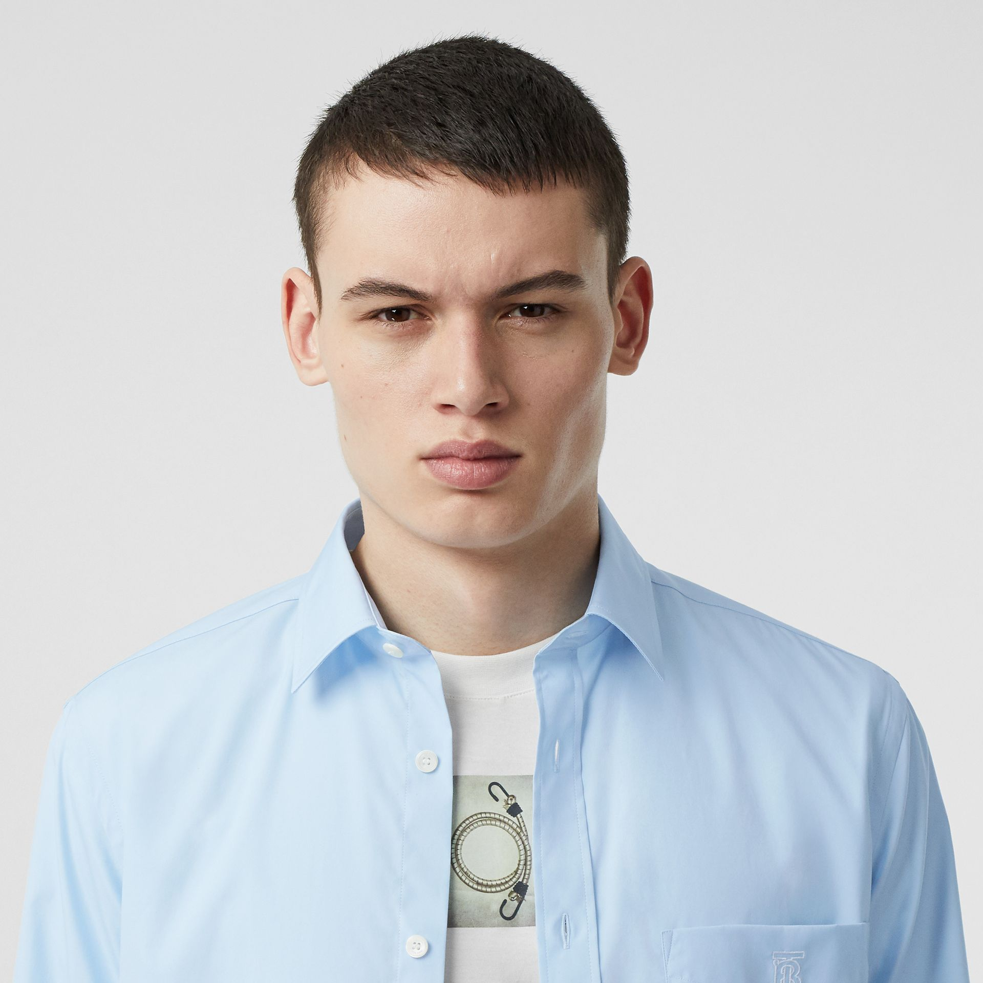 Monogram Motif Stretch Cotton Poplin Shirt in Pale Blue - Men | Burberry - gallery image 1