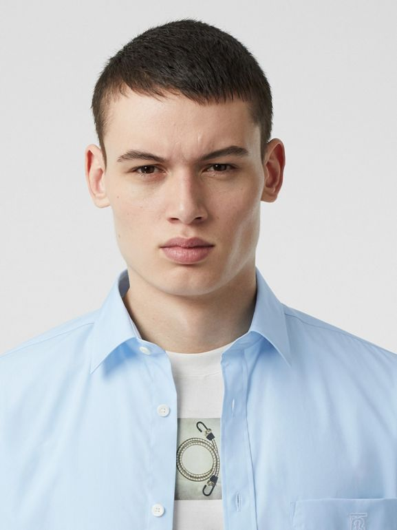 Monogram Motif Stretch Cotton Poplin Shirt in Pale Blue - Men | Burberry - cell image 1