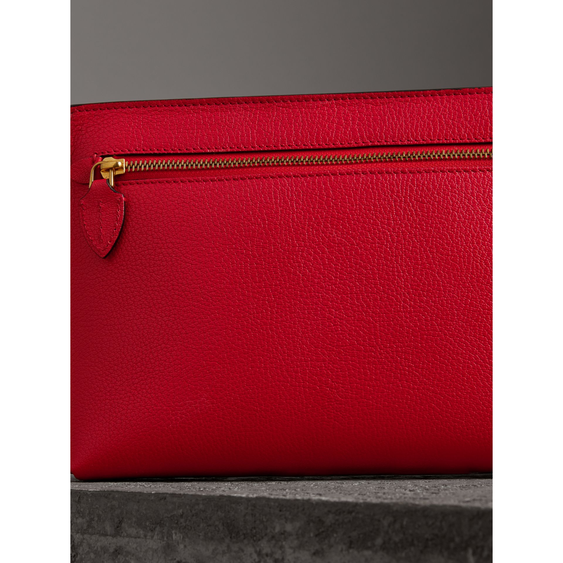 Grainy Leather Wristlet Clutch in Bright Red - Women | Burberry Canada - gallery image 2