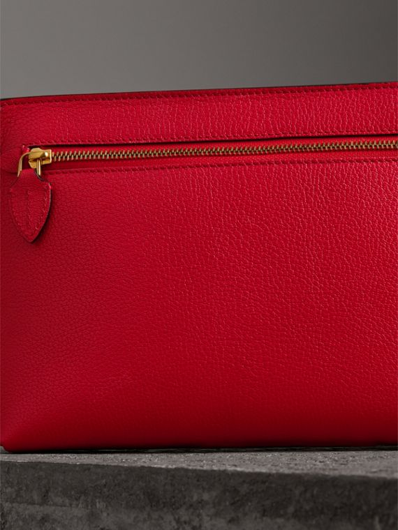 Grainy Leather Wristlet Clutch in Bright Red - Women | Burberry Canada - cell image 2