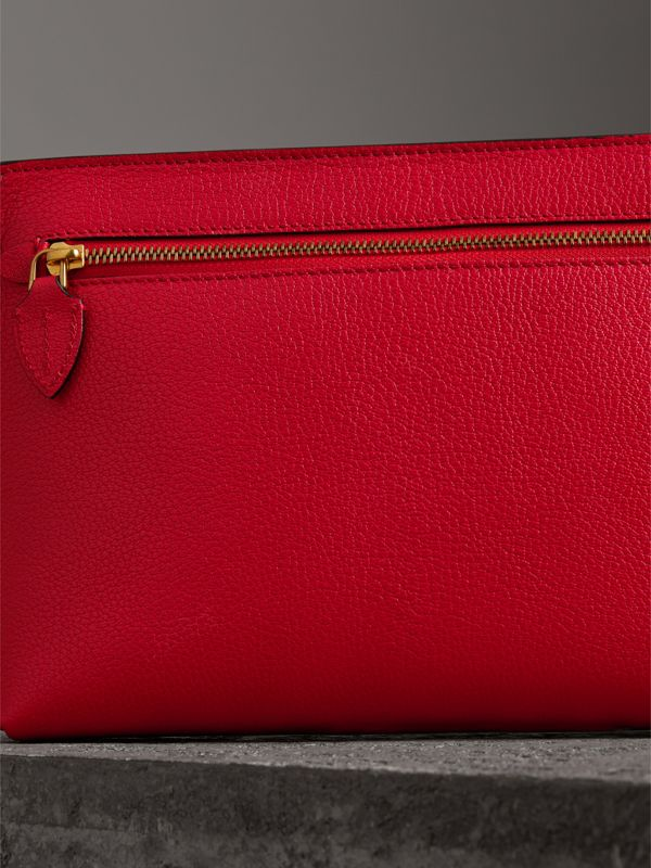 Grainy Leather Wristlet Clutch in Bright Red - Women | Burberry - cell image 2