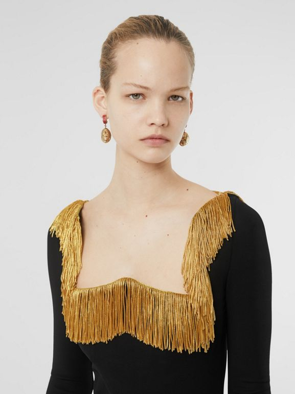 Metallic Fringe Detail Stretch Jersey Corset Top in Black - Women | Burberry Singapore - cell image 1