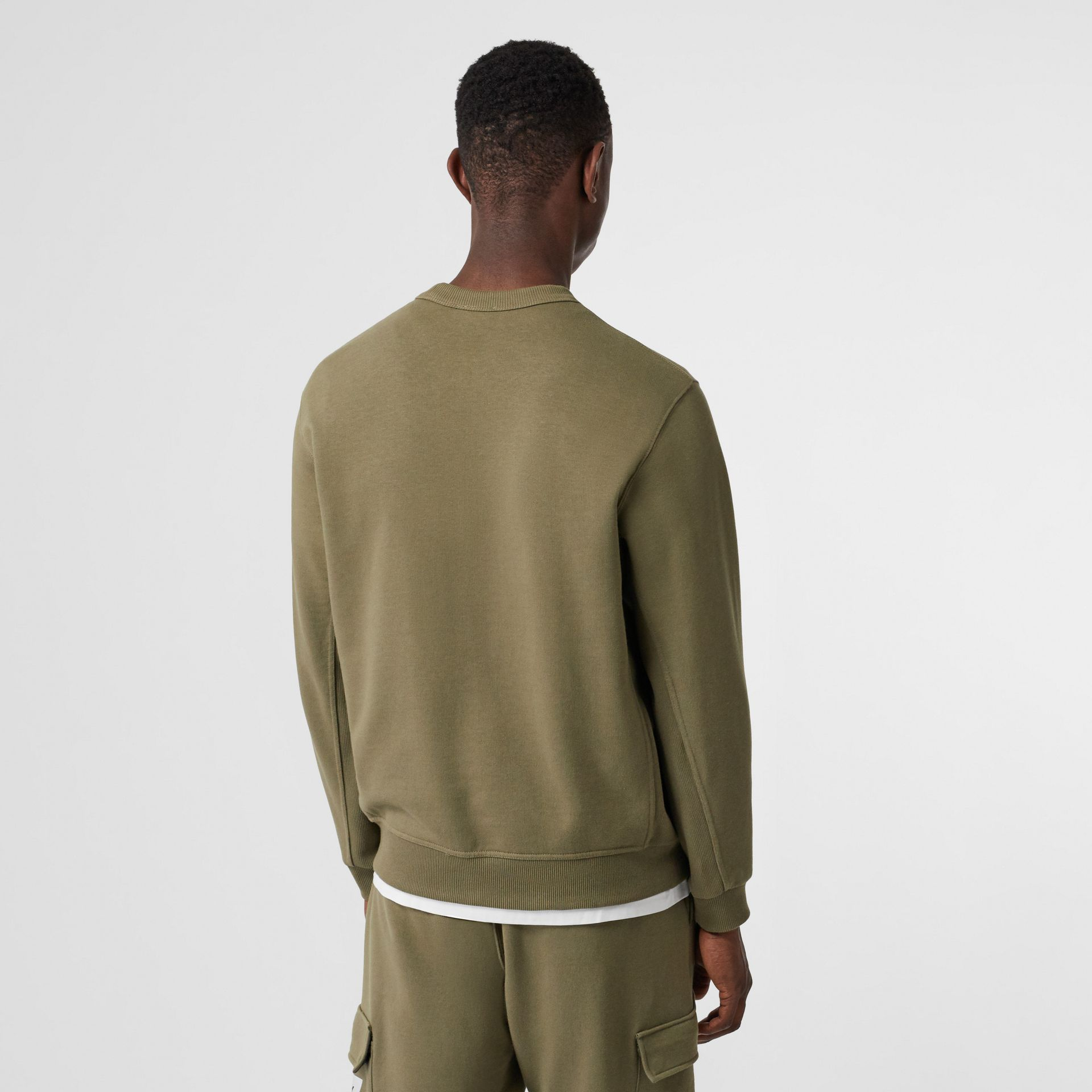 Logo Print Cotton Sweatshirt in Dark Moss - Men | Burberry - gallery image 2