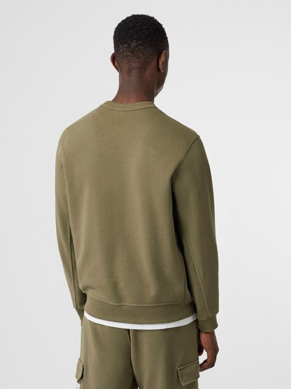 Logo Print Cotton Sweatshirt in Dark Moss - Men | Burberry Singapore - cell image 2