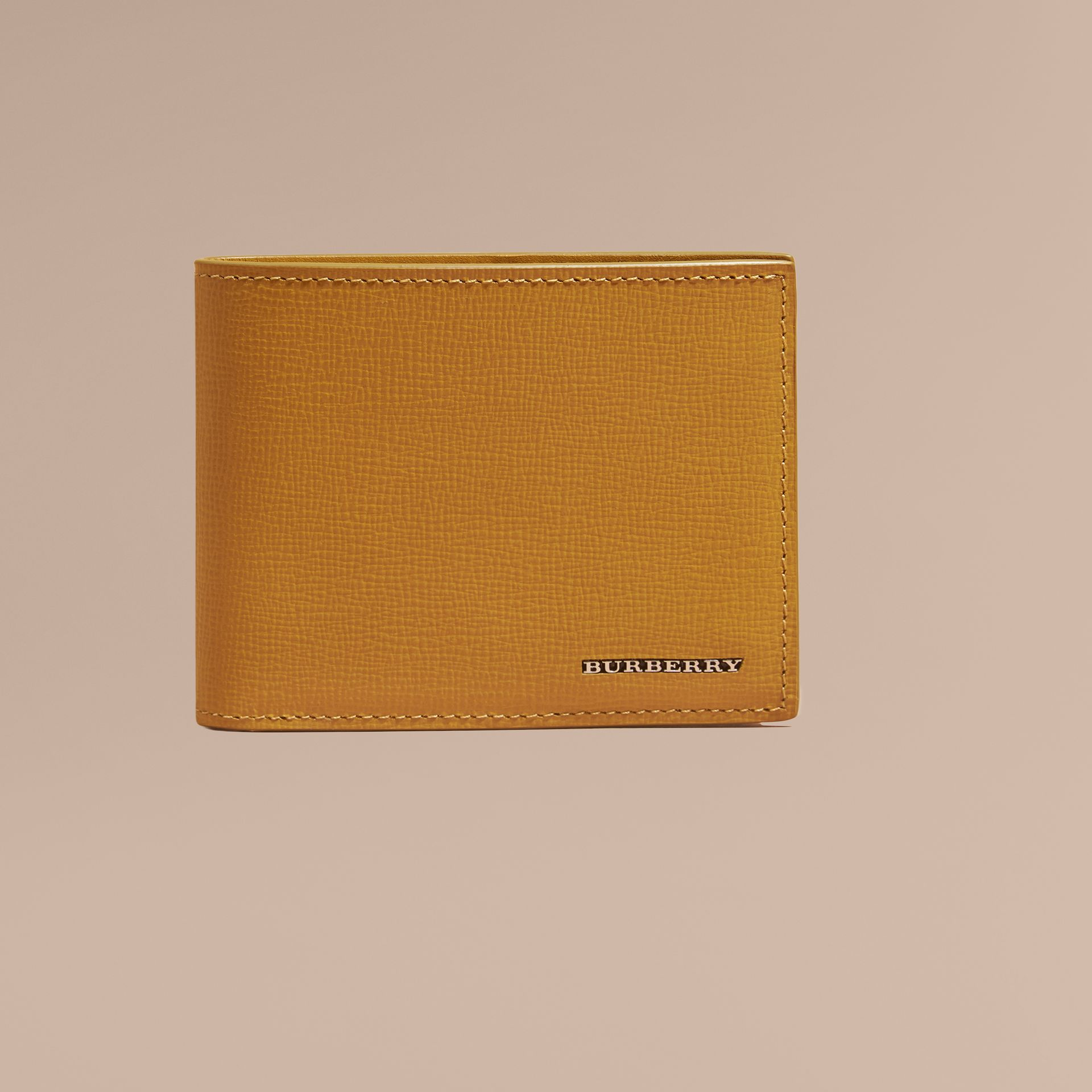 London Leather Bifold Wallet in Larch Yellow - gallery image 2
