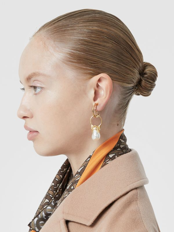 Faux Pearl Ring Detail Gold-plated Hoop Earrings in Light Gold/white - Women | Burberry Hong Kong S.A.R - cell image 2