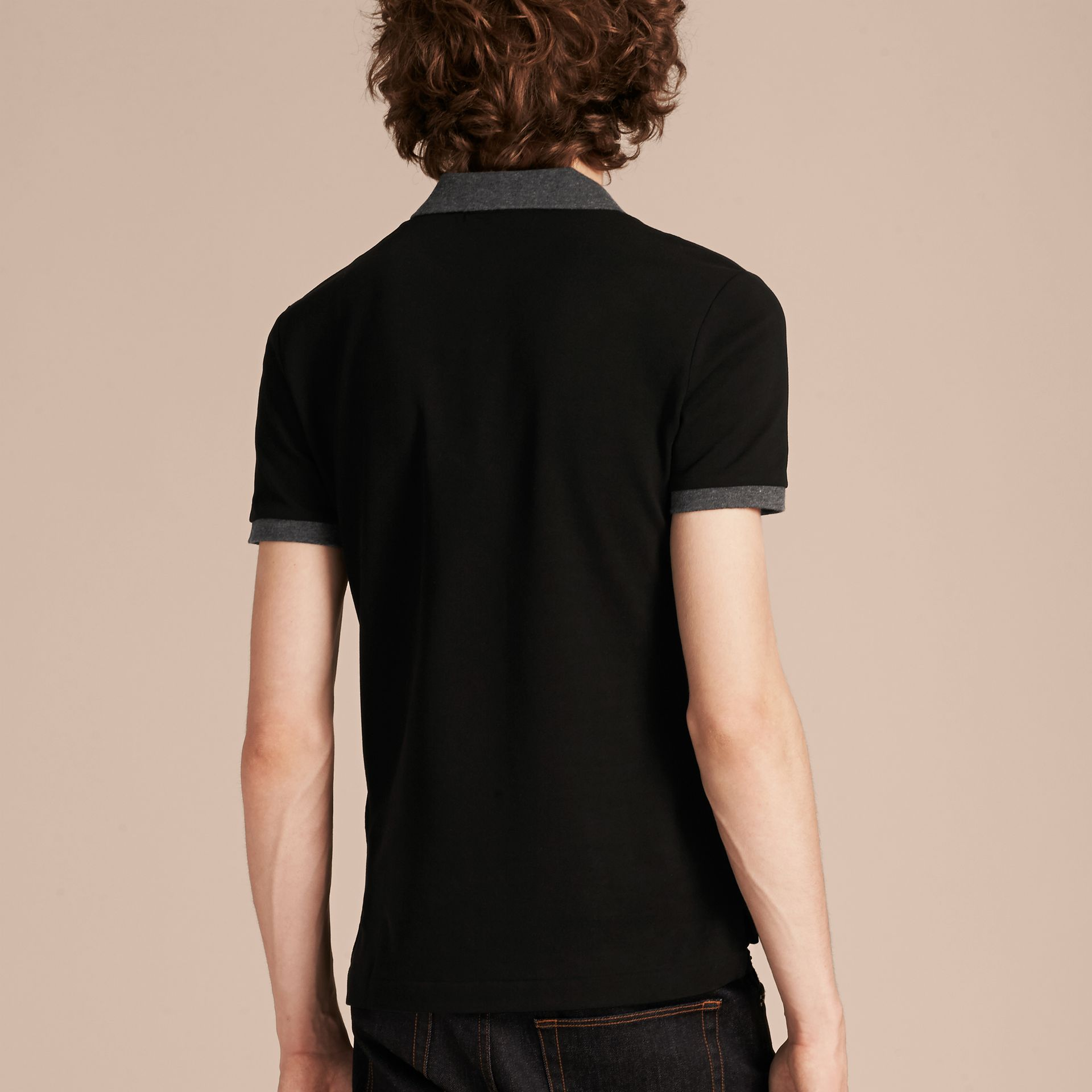 Black Contrast Colour Detail Cotton Piqué Polo Shirt Black - gallery image 3