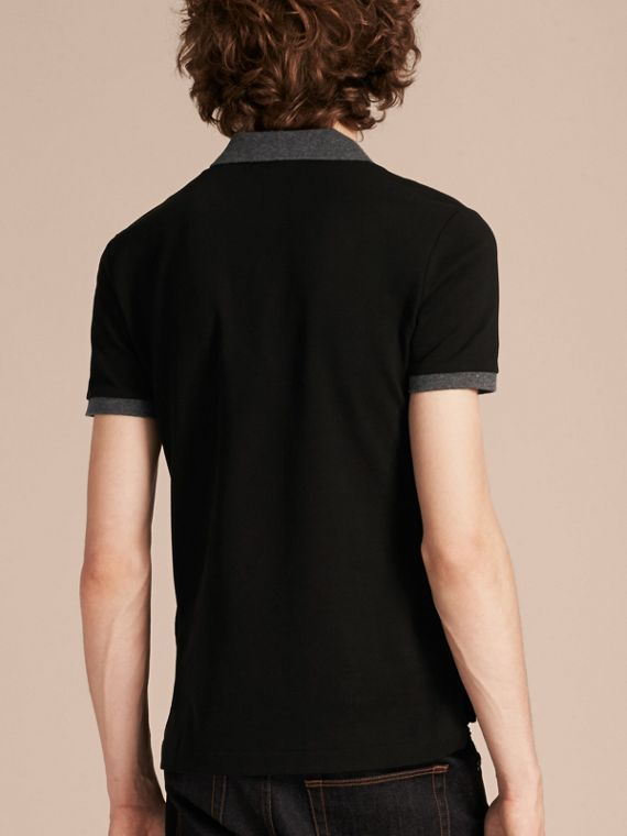 Black Contrast Colour Detail Cotton Piqué Polo Shirt Black - cell image 2