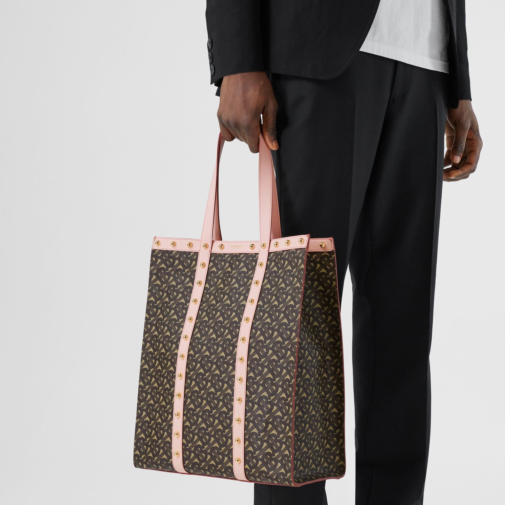 Monogram Print E-canvas Portrait Tote Bag in Cloud Pink | Burberry - gallery image 10