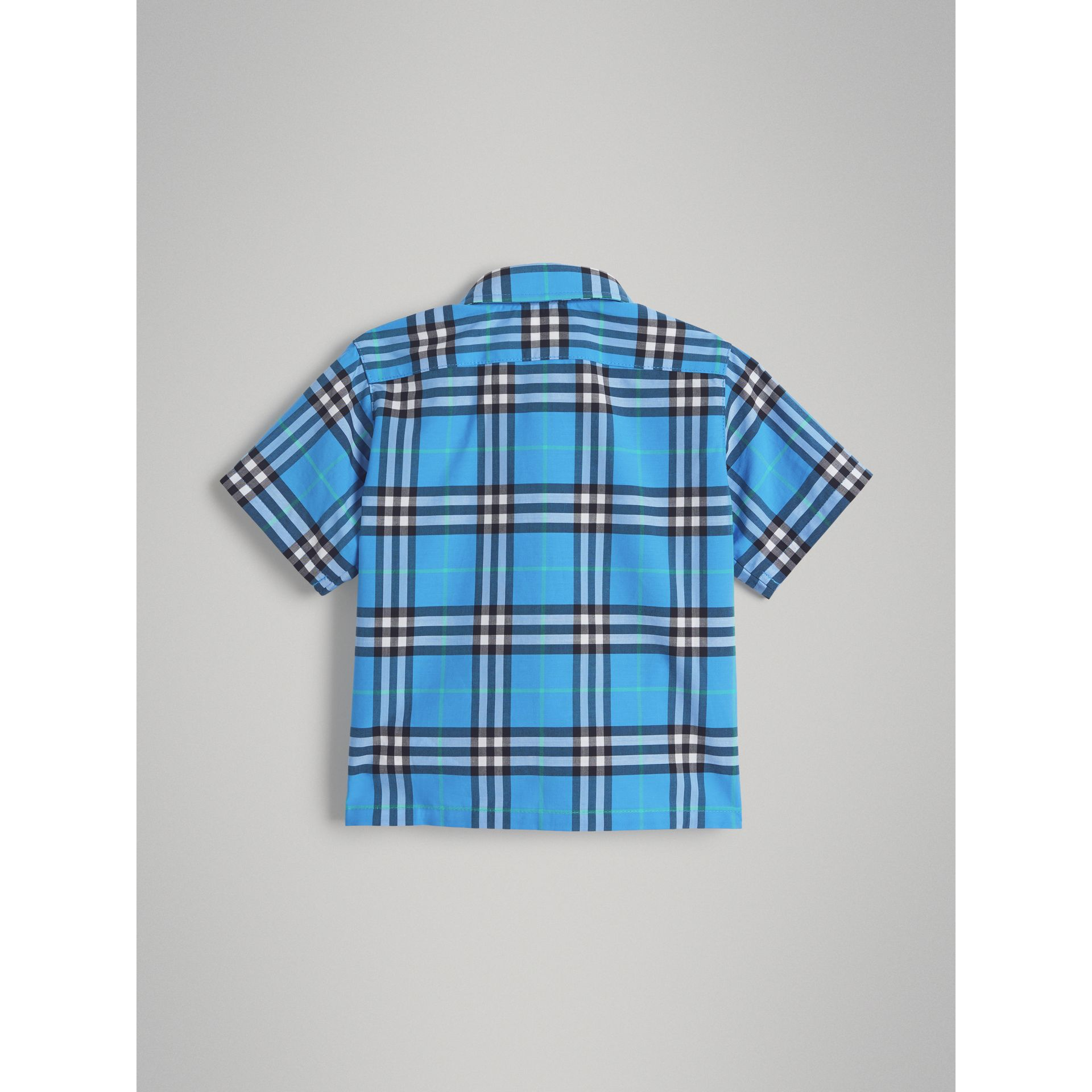 Short-sleeve Check Cotton Shirt in Azure Blue | Burberry - gallery image 3
