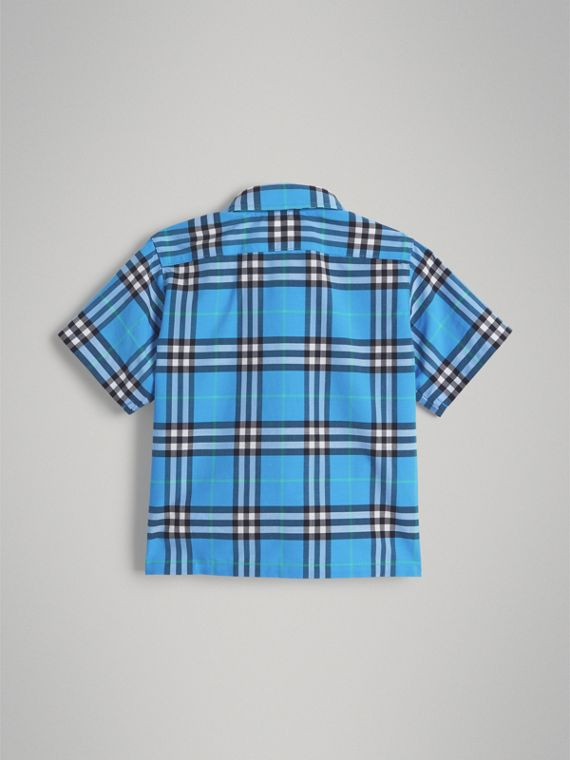 Short-sleeve Check Cotton Shirt in Azure Blue | Burberry - cell image 3