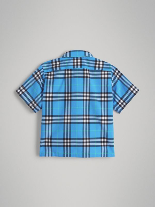 Short-sleeve Check Cotton Shirt in Azure Blue - Children | Burberry - cell image 3