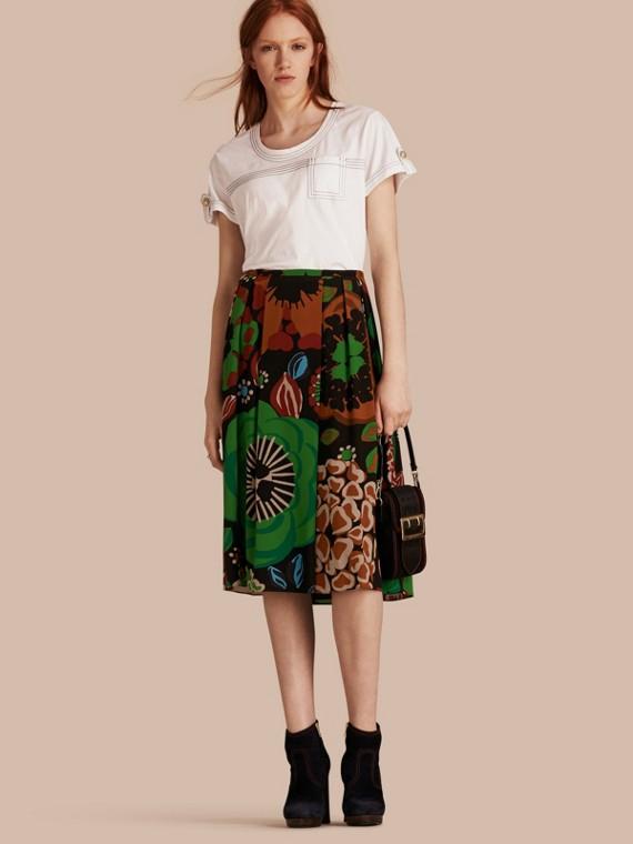 花朵印花中式絲綢縐紗裙