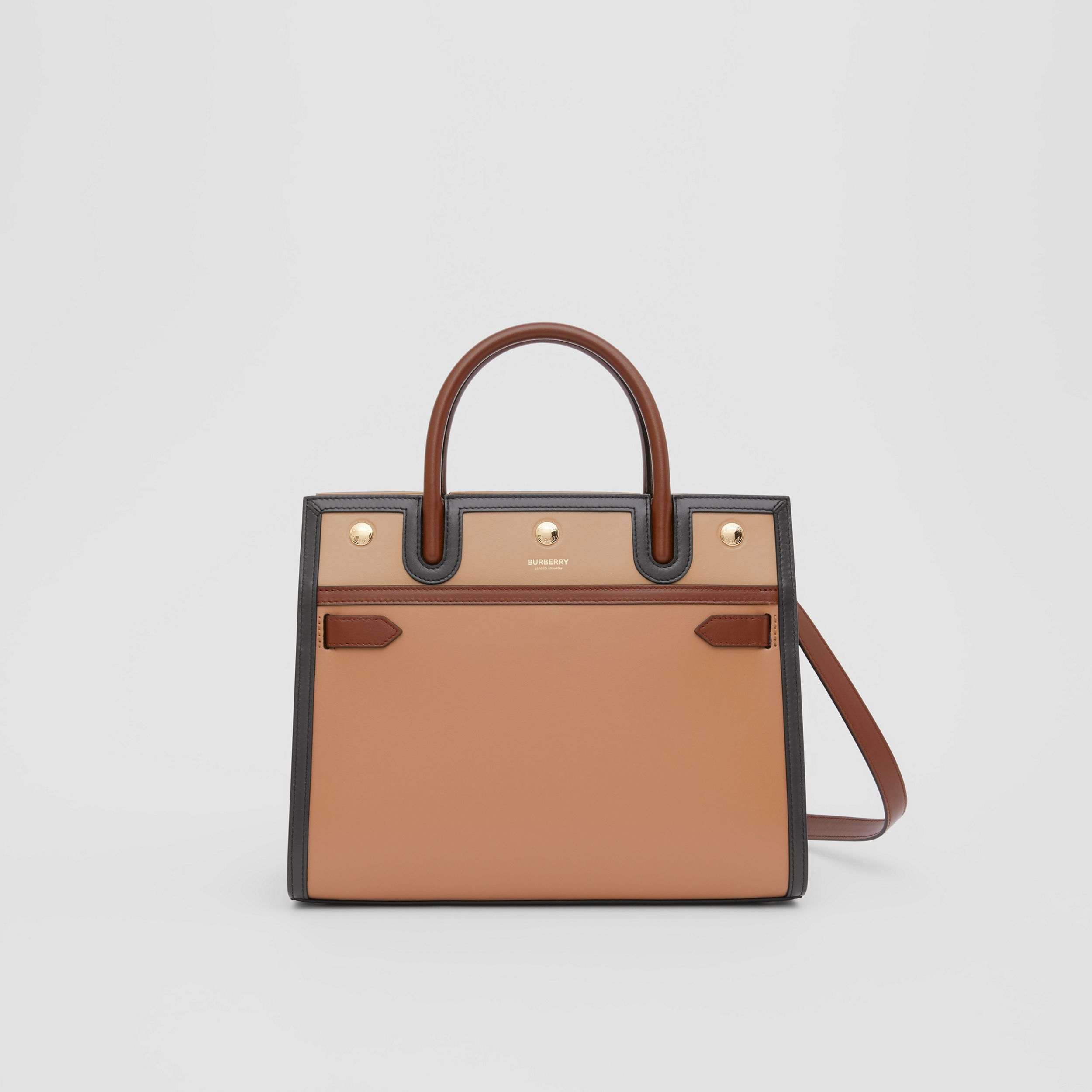 Small Leather Two-handle Title Bag in Soft Fawn - Women | Burberry - 1