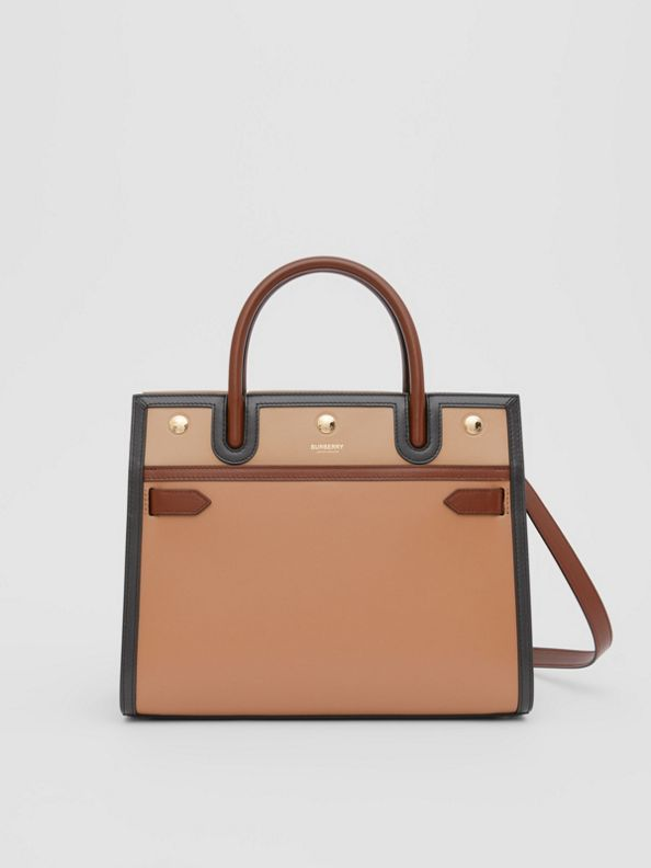 Small Leather Two-handle Title Bag in Soft Fawn