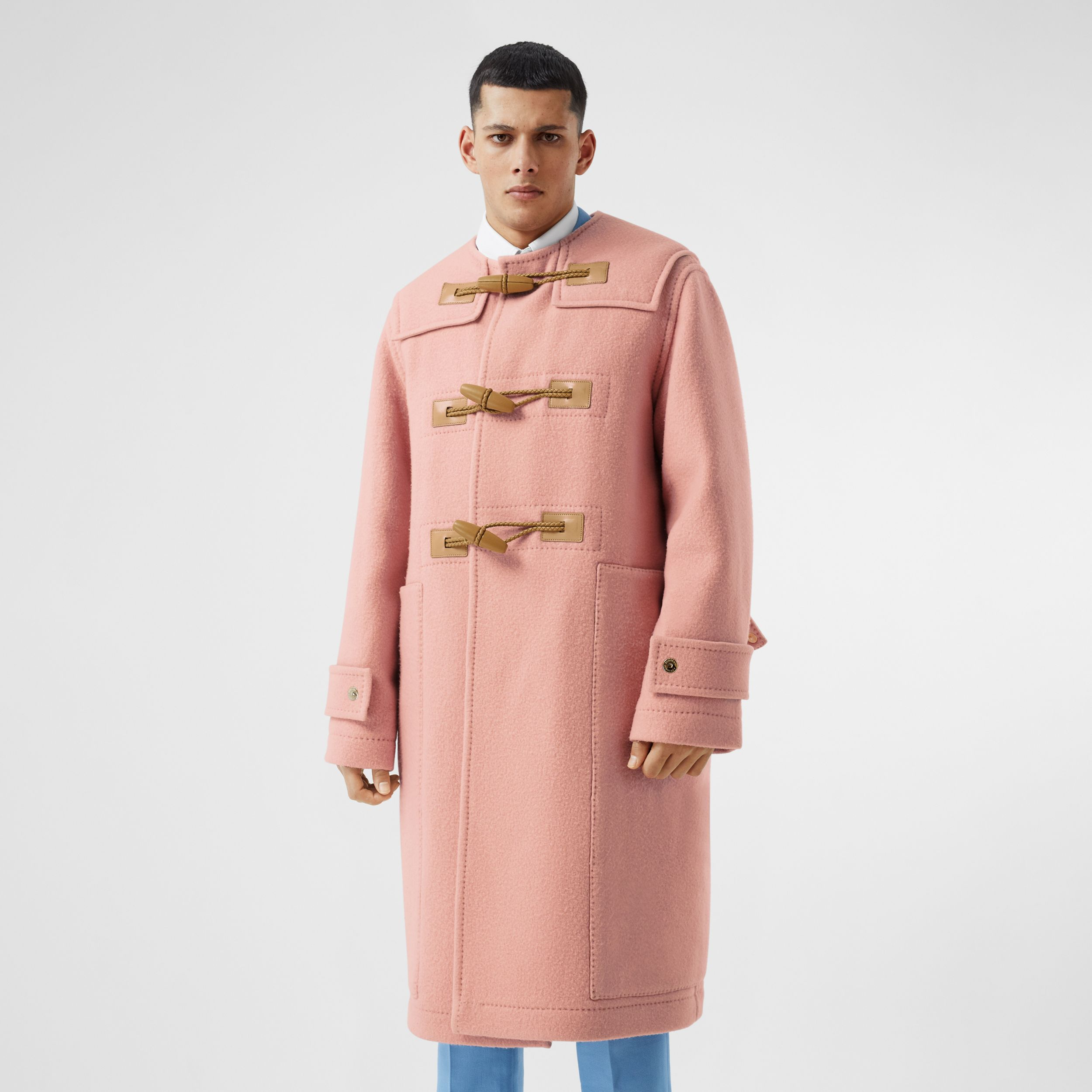 Vintage Check-lined Felted Wool Duffle Coat in Dusty Pink - Men | Burberry - 1