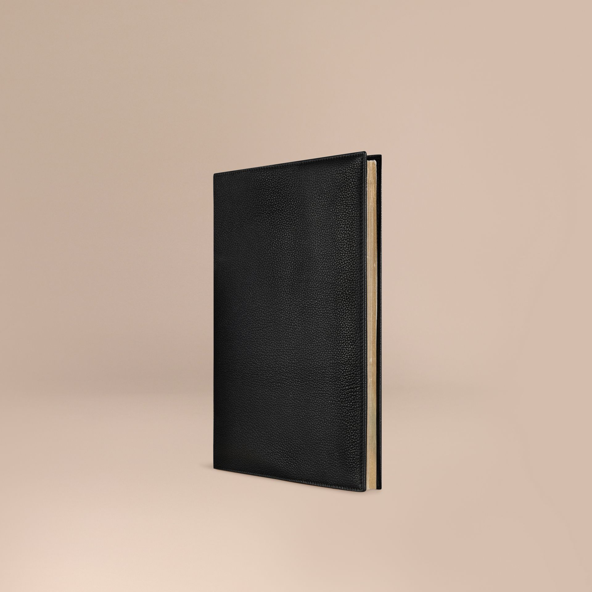 Black Grainy Leather A4 Notebook Black - gallery image 1