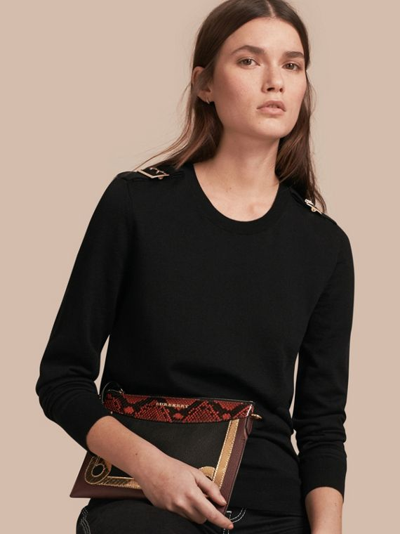 Buckle Detail Merino Wool Sweater Black