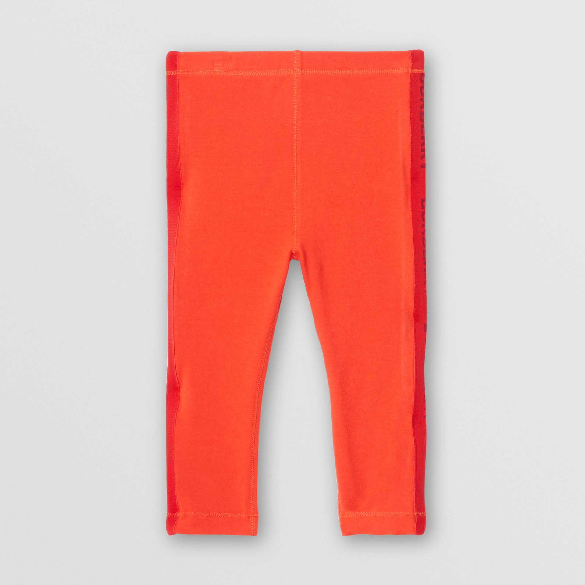 Logo Detail Stretch Cotton Leggings in Bright Red - Children | Burberry Hong Kong S.A.R - gallery image 0