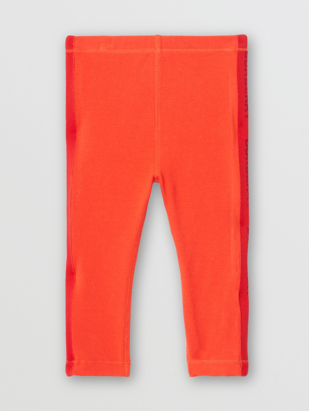 Logo Detail Stretch Cotton Leggings in Bright Red