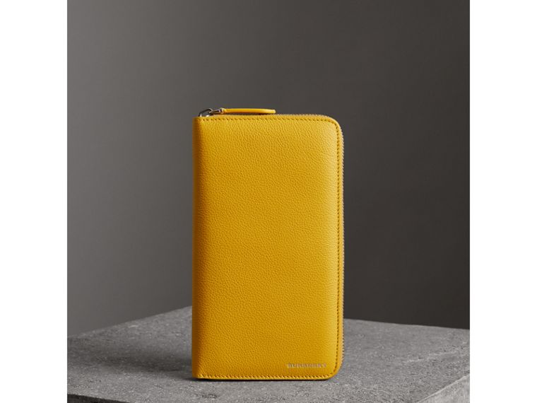Grainy Leather Ziparound Wallet in Bright Ochre Yellow - Men | Burberry Singapore - cell image 4