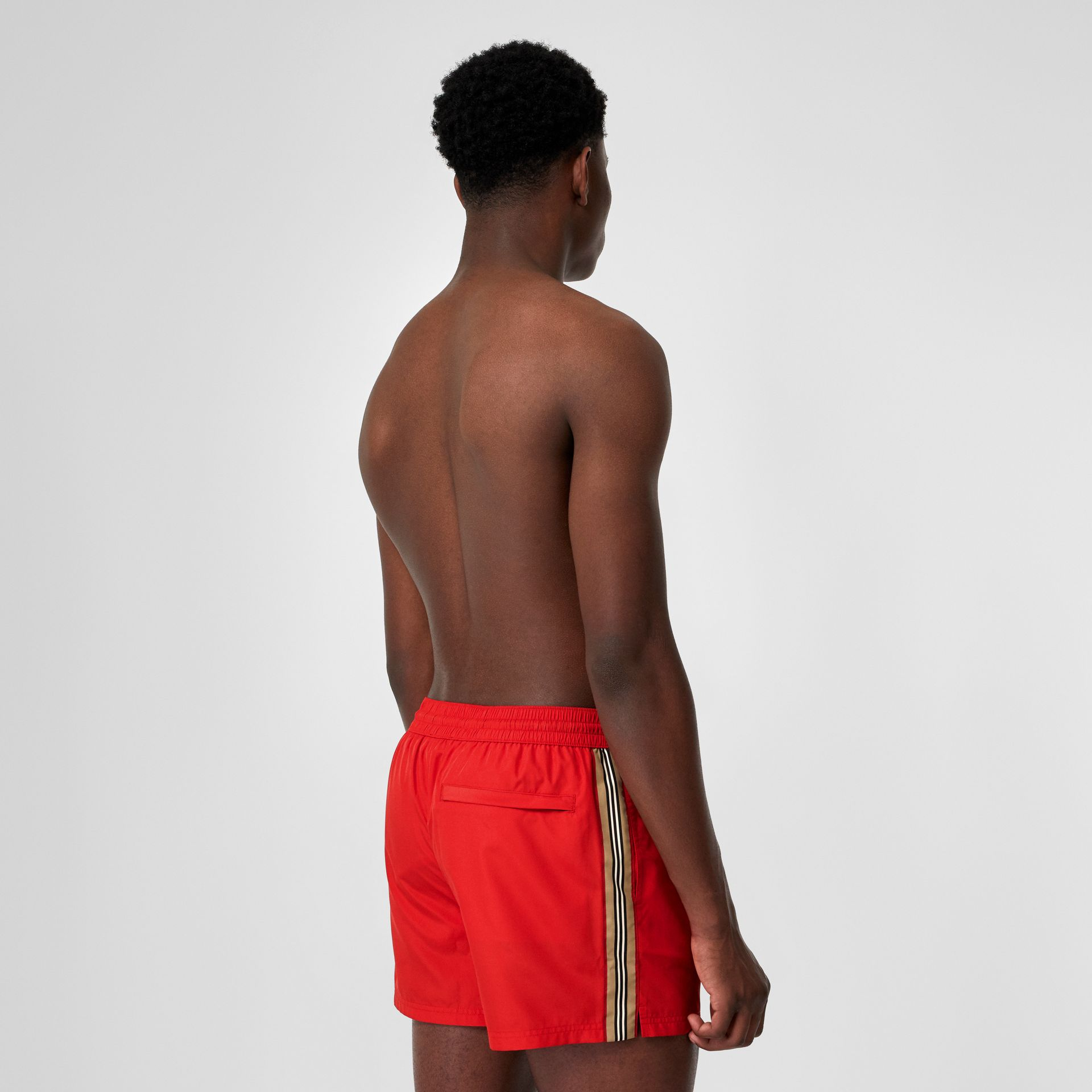 Icon Stripe Detail Drawcord Swim Shorts in Bright Red - Men | Burberry - gallery image 1