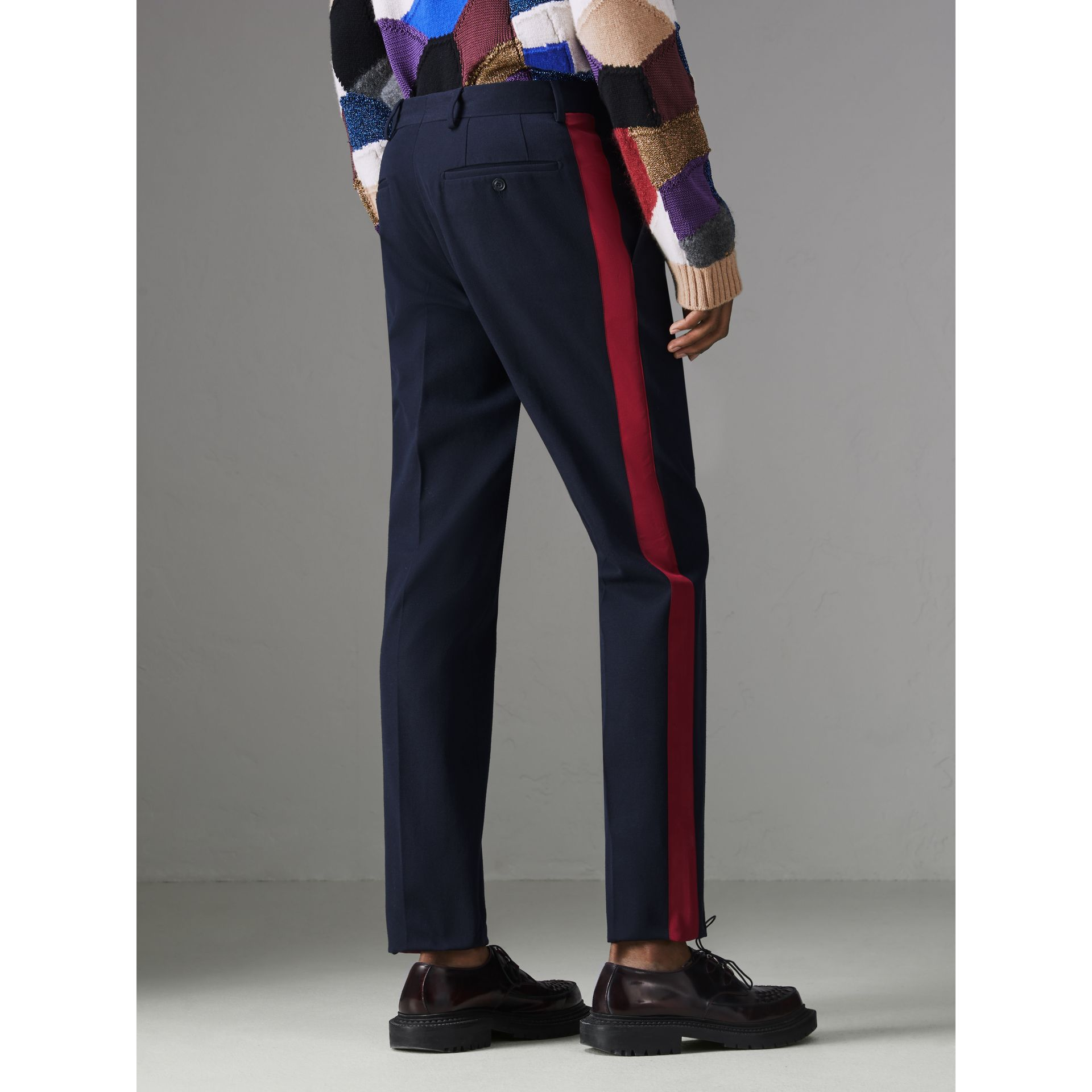 Contrast Stripe Wool Blend Tailored Trousers in Navy - Men | Burberry Singapore - gallery image 2