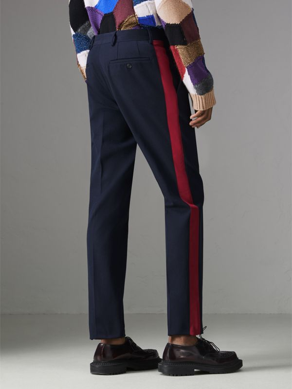 Contrast Stripe Wool Blend Tailored Trousers in Navy - Men | Burberry - cell image 2