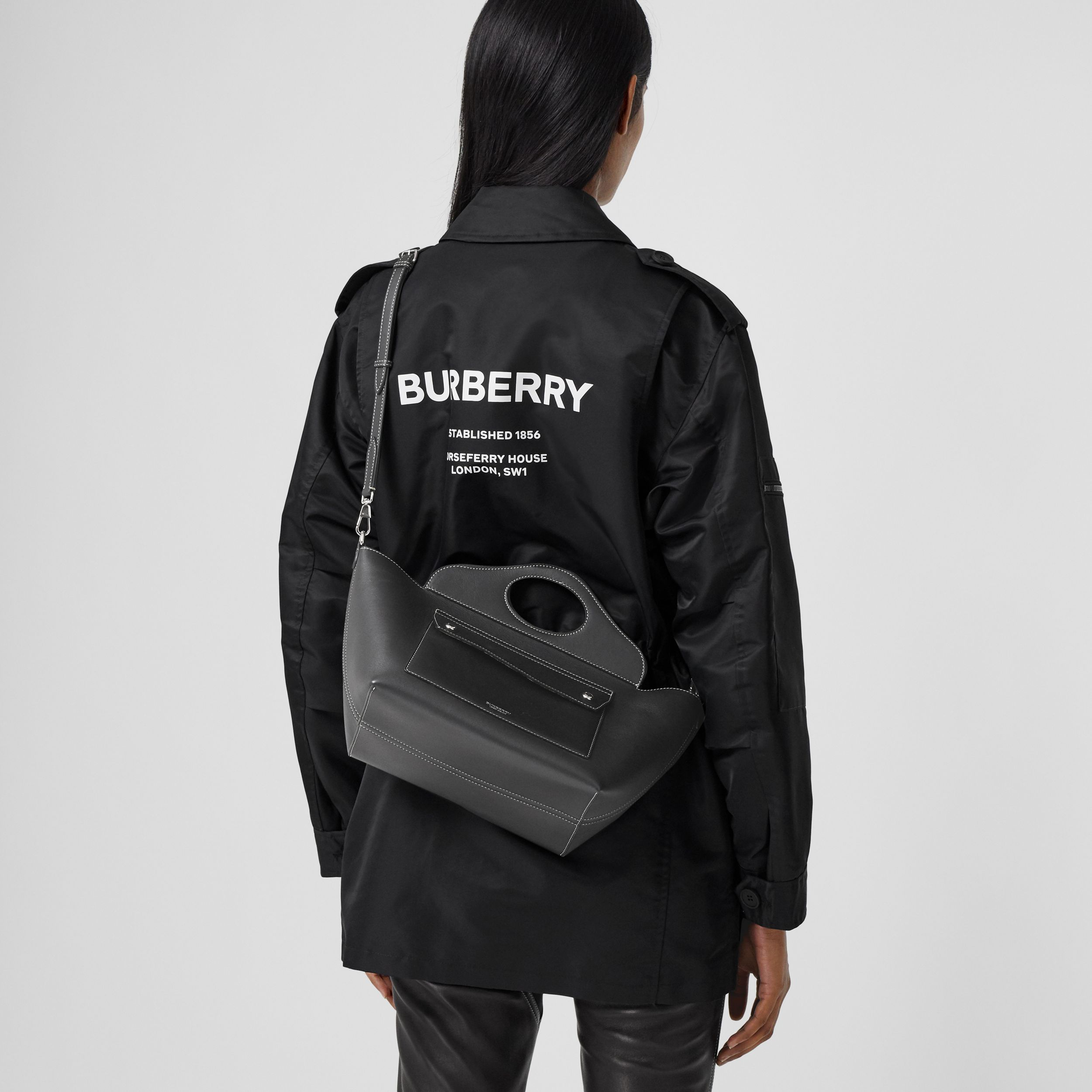 Mini Leather Soft Pocket Tote in Black - Women | Burberry United States - 3