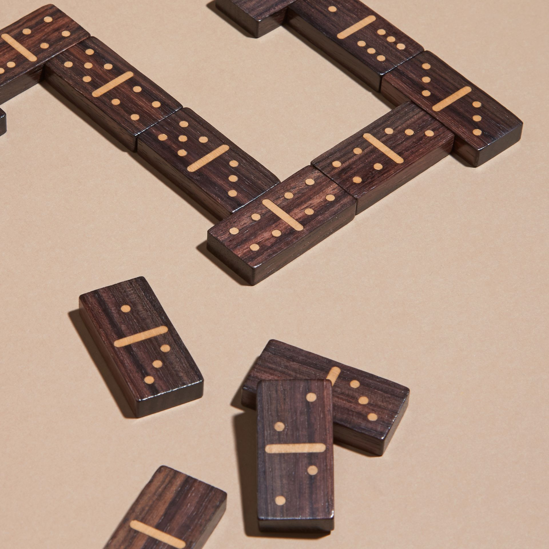 Wooden Domino Set with Grainy Leather Case Dark Forest Green - gallery image 2