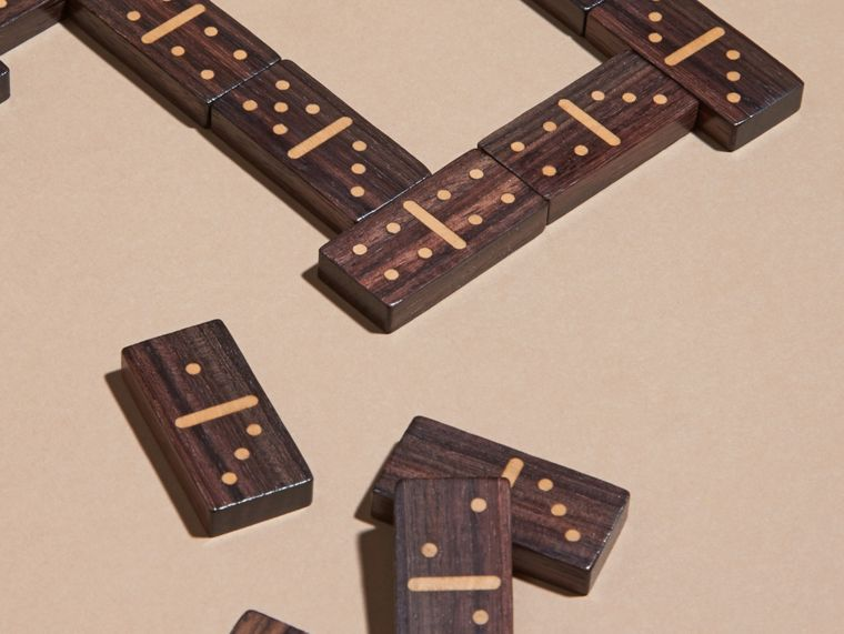 Wooden Domino Set with Grainy Leather Case in Dark Forest Green - cell image 1