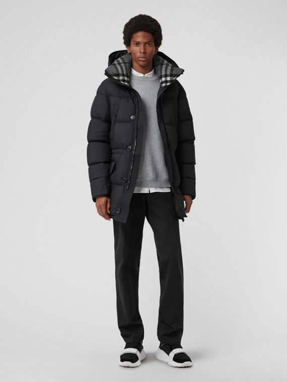 Check Detail Down-filled Hooded Puffer Coat in Black