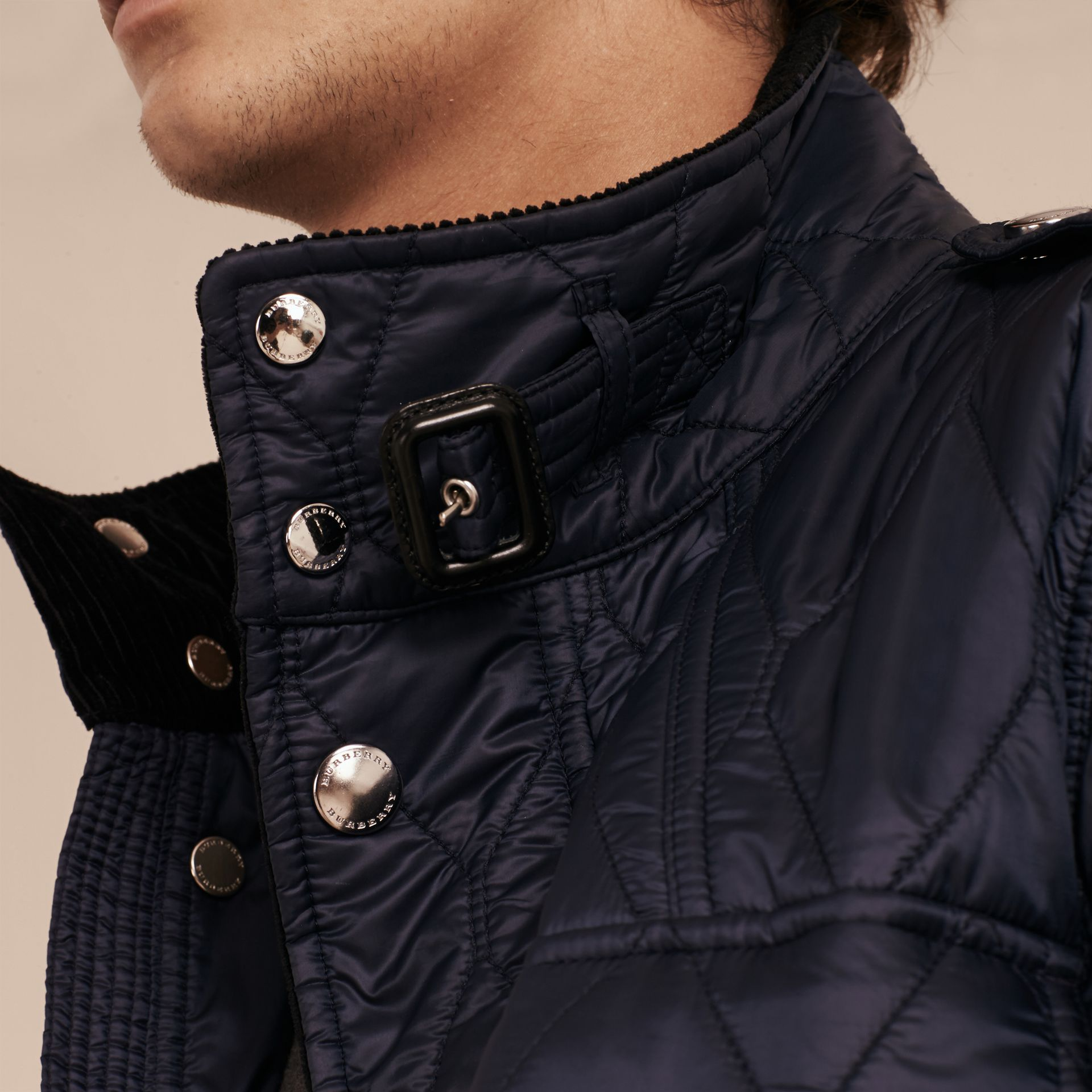 Diamond Quilted Field Jacket Navy - gallery image 5