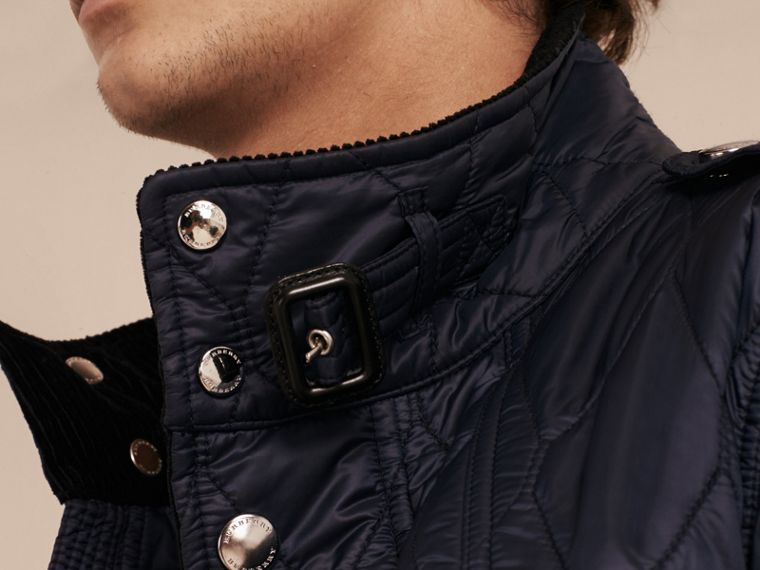 Diamond Quilted Field Jacket in Navy - Men | Burberry - cell image 4