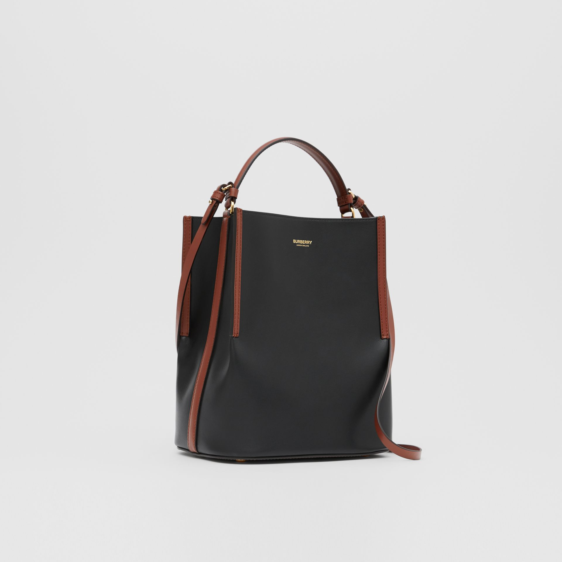 Small Two-tone Leather Peggy Bucket Bag in Black - Women | Burberry - gallery image 6