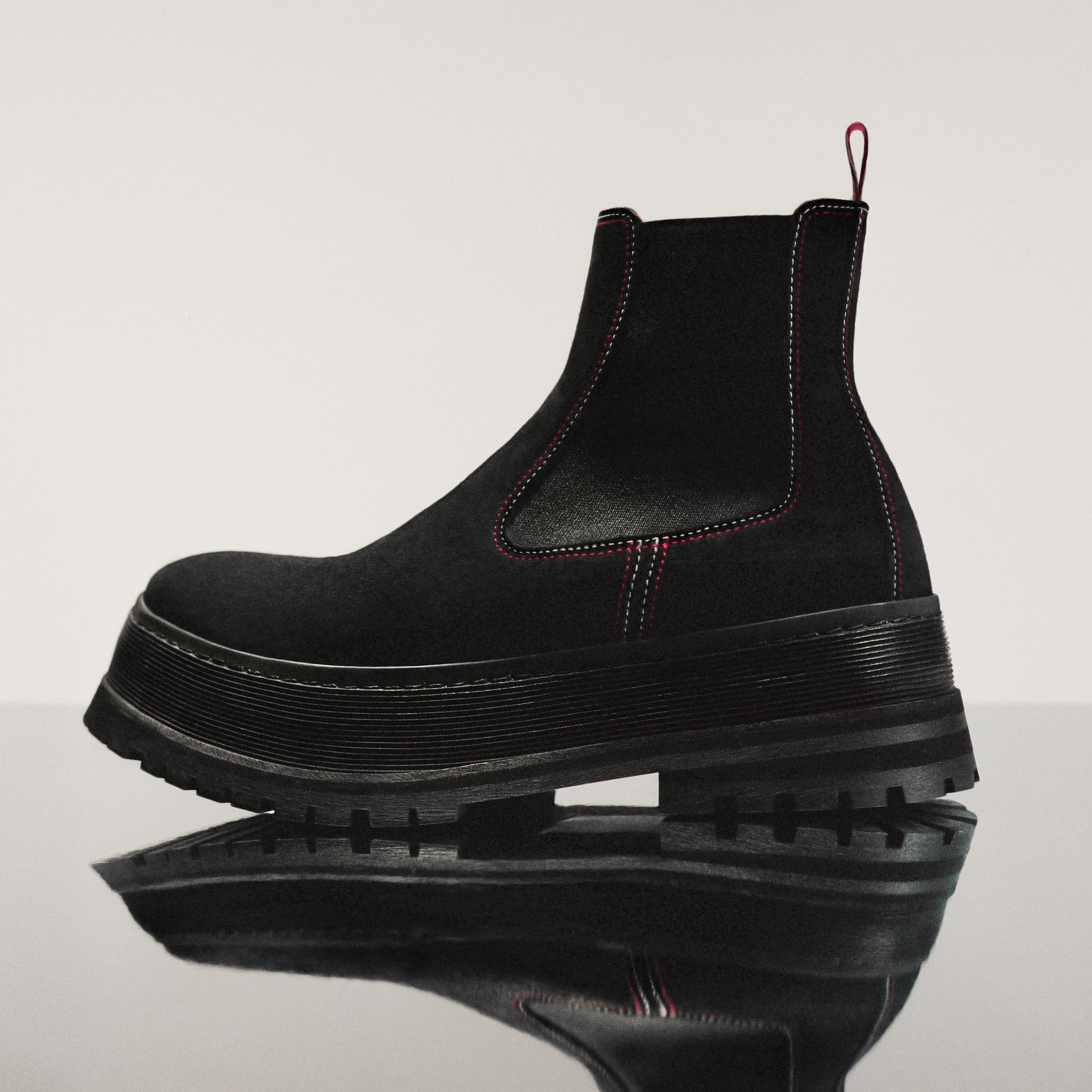 Topstitched Suede Chelsea Boots in Black/red/white - Men | Burberry - 2