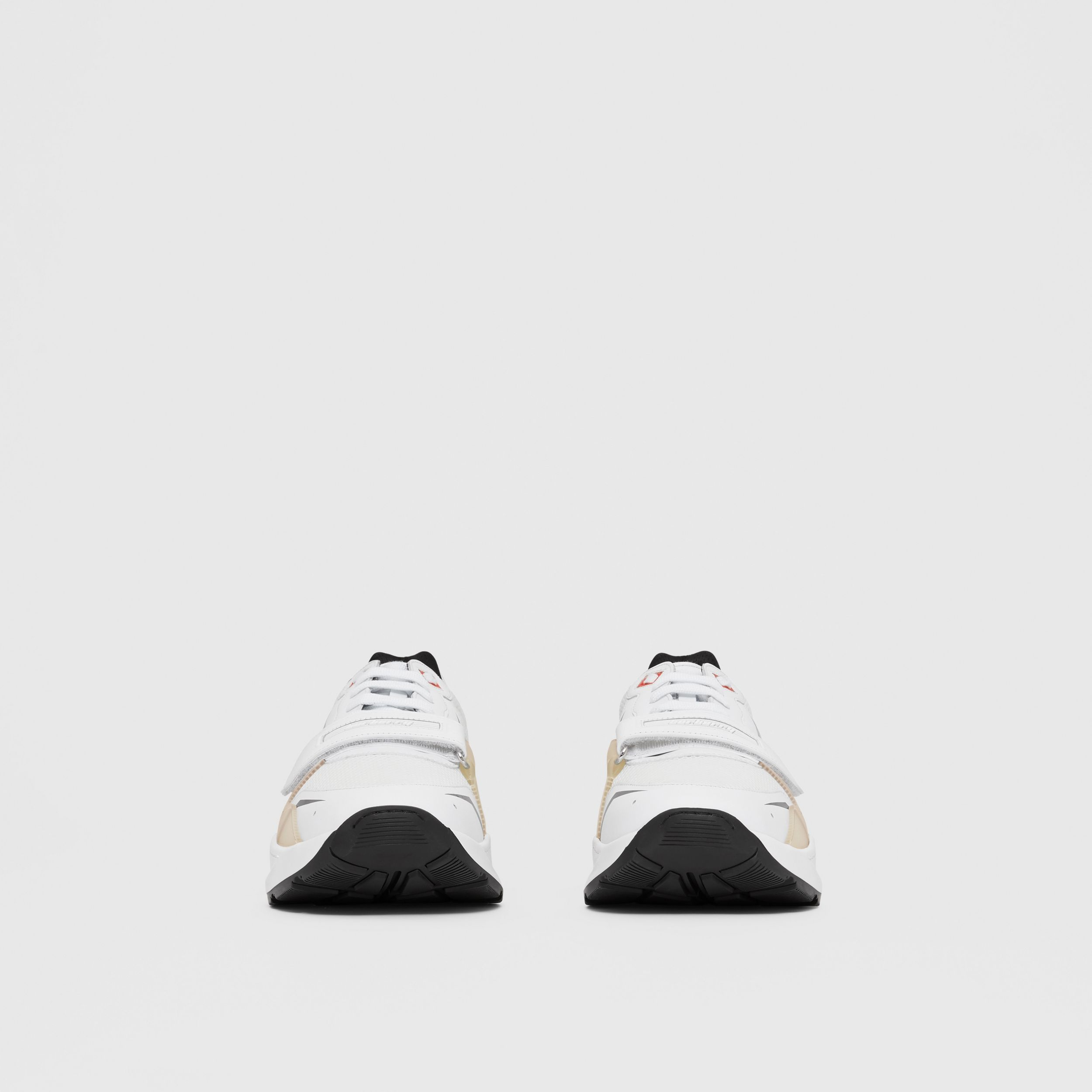 Leather and Mesh Sneakers in White - Men | Burberry - 3