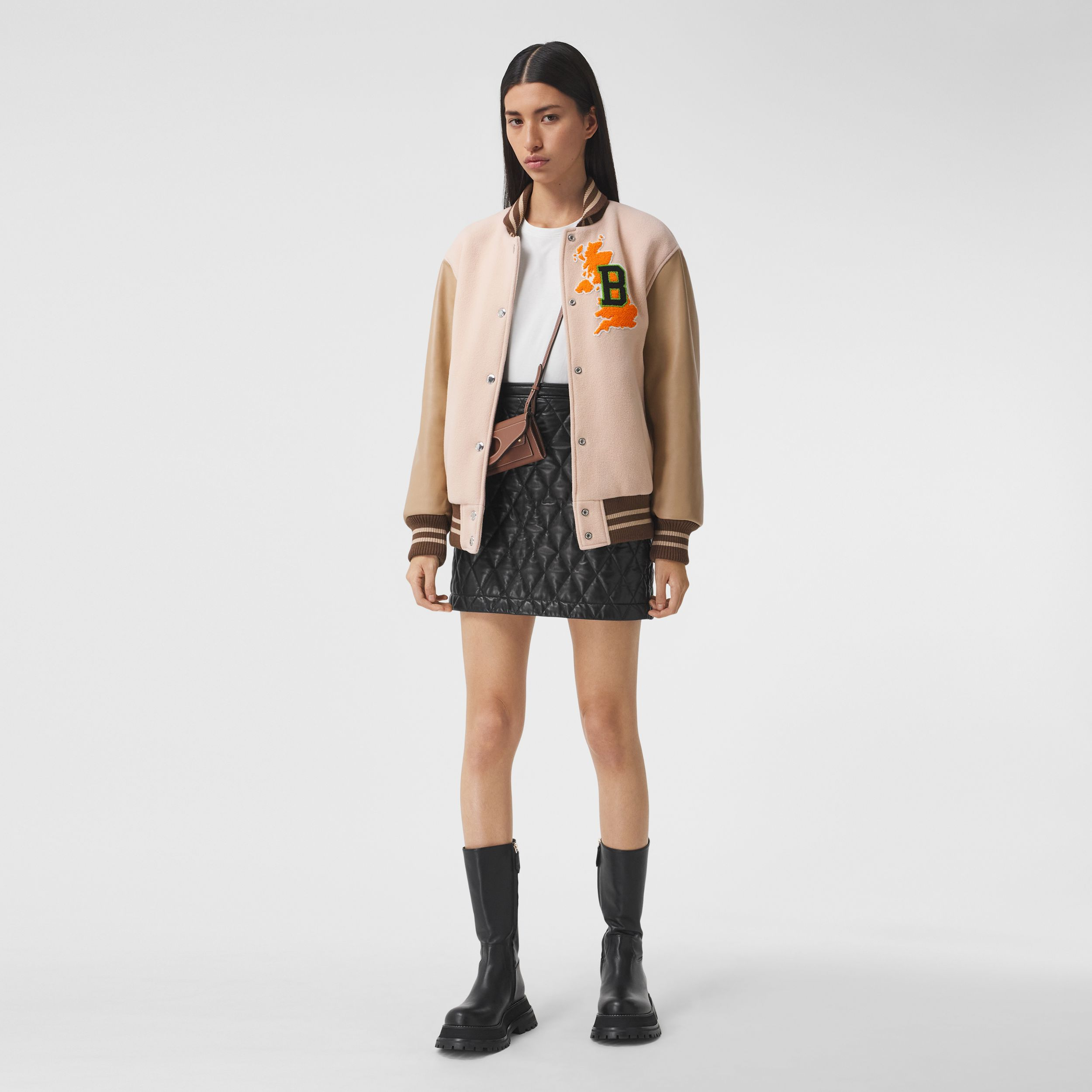 Varsity Graphic Wool and Leather Bomber Jacket in Rose Pink - Women | Burberry Australia - 1