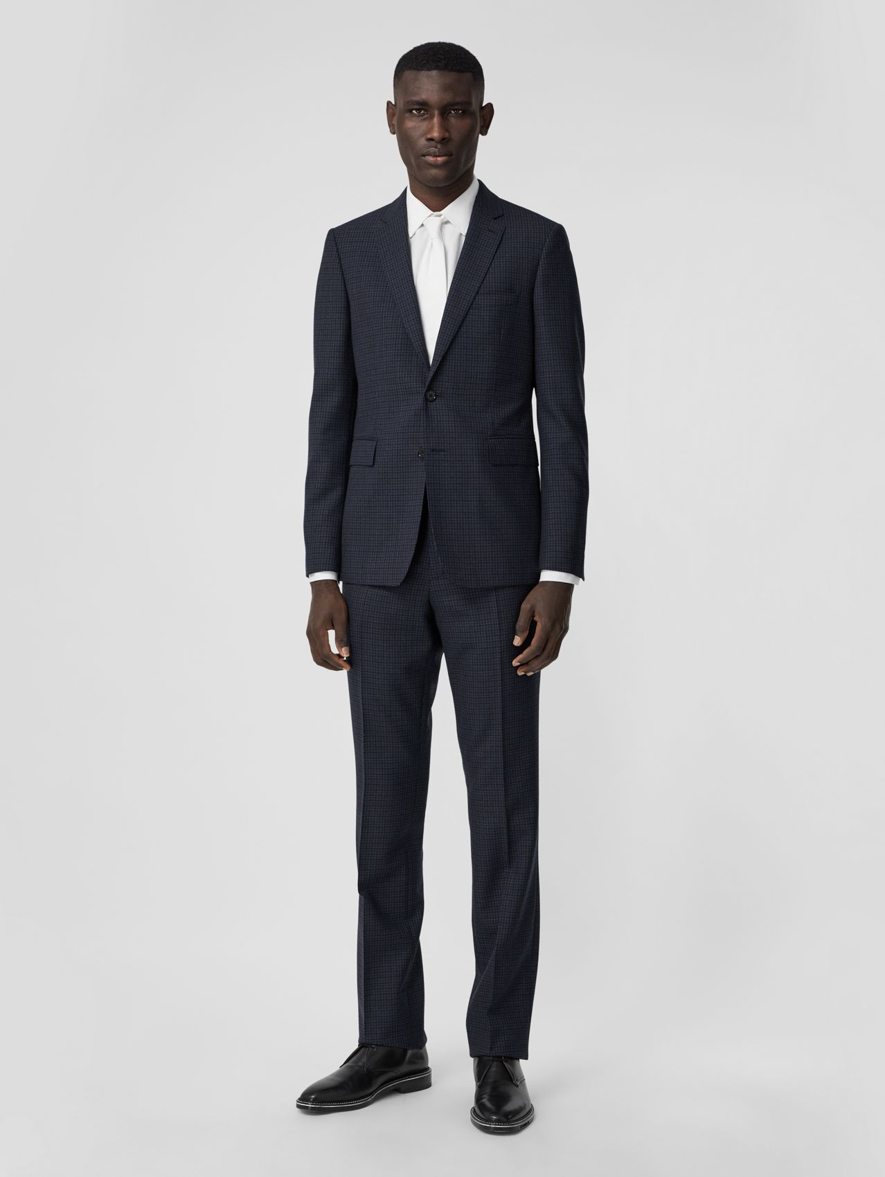 Slim Fit Check Wool Suit in Ink Blue