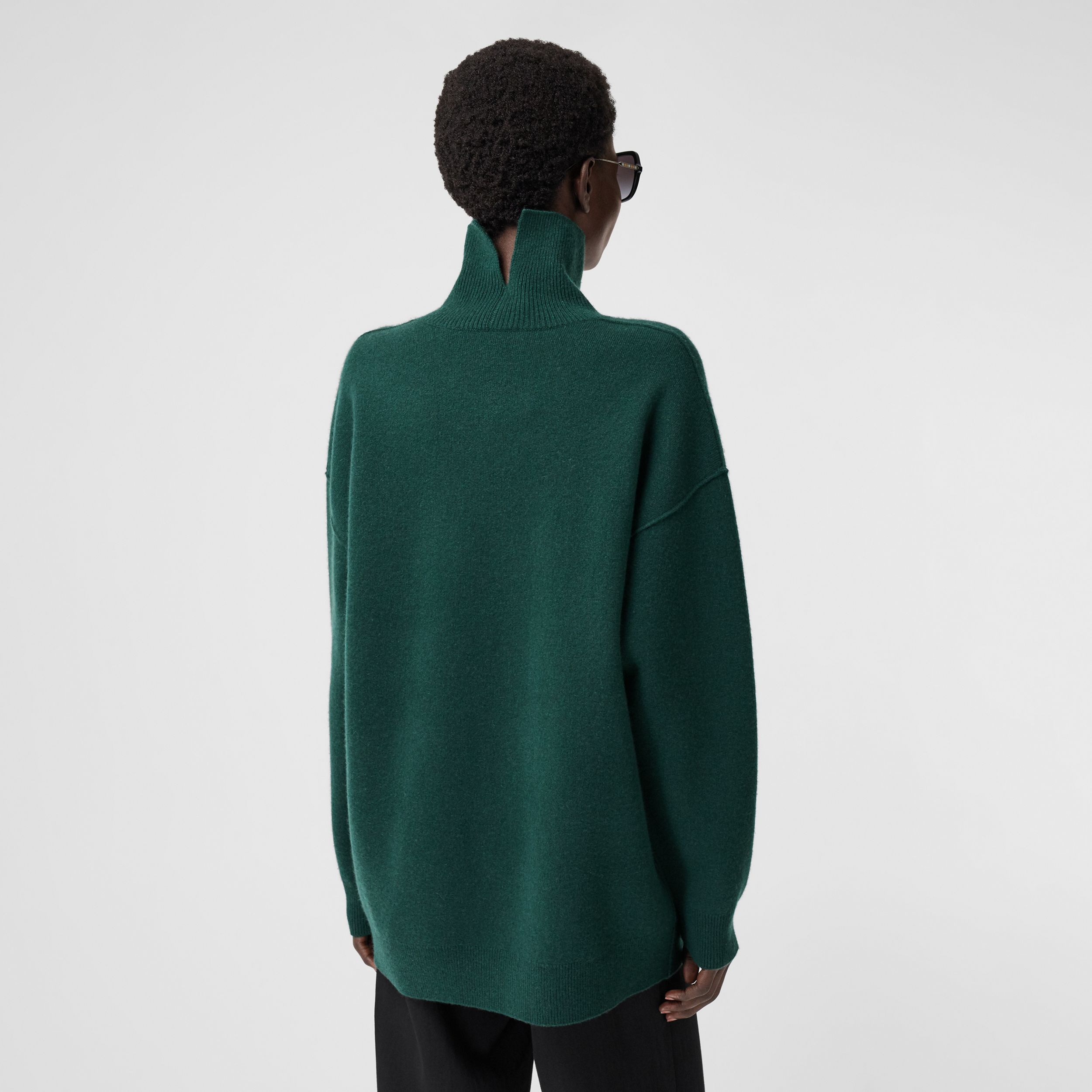 Monogram Motif Cashmere Blend Funnel Neck Sweater in Bottle Green - Women | Burberry - 3