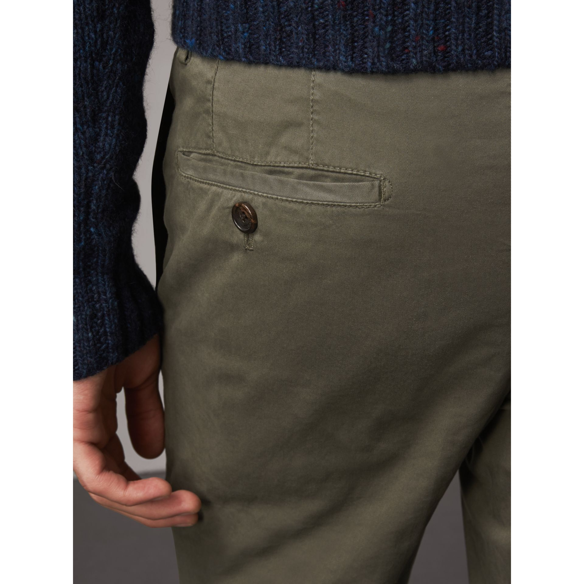 Slim Fit Stretch Cotton Chinos in Slate Green - Men | Burberry Canada - gallery image 3